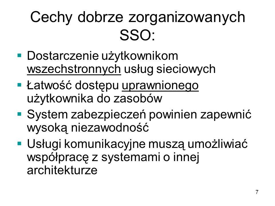8 Cechy dobrze zorganizowanych SSO: Funkcje komunikacyjne powinny być zoptymalizowane pod kątem ich przydatności Dostępność narzędzi do administracji i zarządzania sieciami umożliwiające analizę i diagnozę sieci