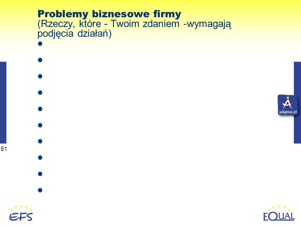 51 Problemy biznesowe firmy (Rzeczy, które - Twoim zdaniem -wymagają podjęcia działań)