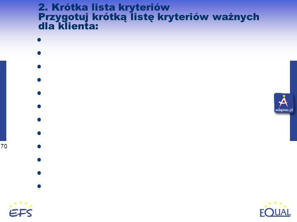 70 2. Krótka lista kryteriów Przygotuj krótką listę kryteriów ważnych dla klienta:
