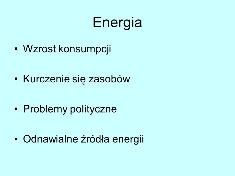 Energia Wzrost konsumpcji Kurczenie się zasobów Problemy polityczne Odnawialne źródła energii