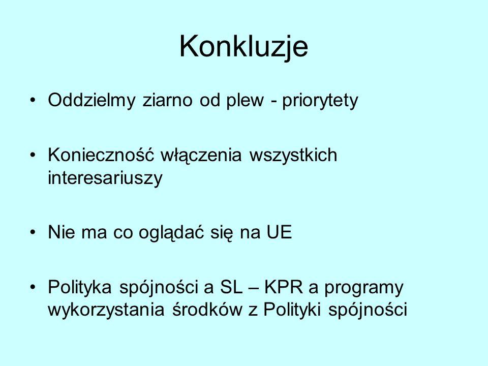 Konkluzje Oddzielmy ziarno od plew - priorytety Konieczność włączenia wszystkich interesariuszy Nie ma co oglądać się na UE Polityka spójności a SL – KPR a programy wykorzystania środków z Polityki spójności