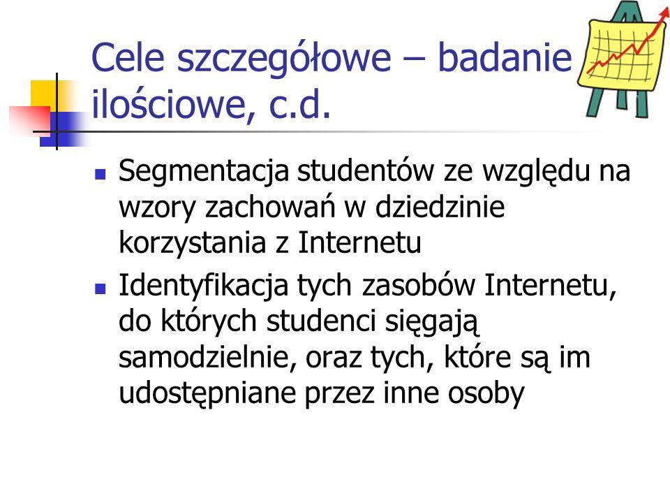 Cele szczegółowe – badanie ilościowe, c.d. Segmentacja studentów ze względu na wzory zachowań w dziedzinie korzystania z Internetu Identyfikacja tych