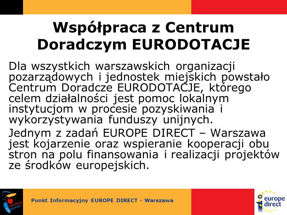 Współpraca z Centrum Doradczym EURODOTACJE Dla wszystkich warszawskich organizacji pozarządowych i jednostek miejskich powstało Centrum Doradcze EURODOTACJE, którego celem działalności jest pomoc lokalnym instytucjom w procesie pozyskiwania i wykorzystywania funduszy unijnych.
