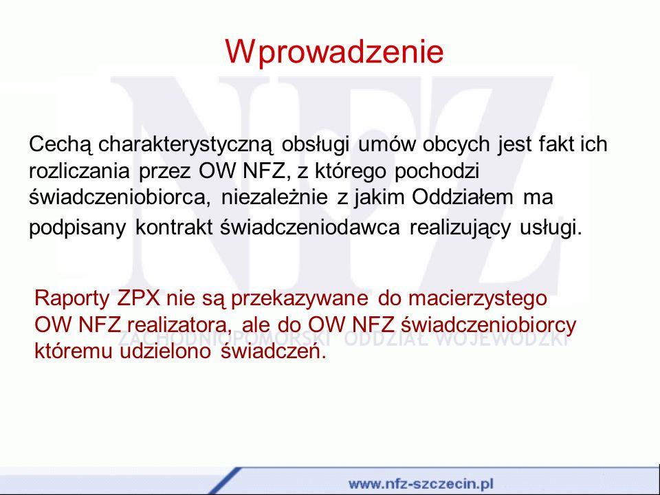 Wprowadzenie Cechą charakterystyczną obsługi umów obcych jest fakt ich rozliczania przez OW NFZ, z którego pochodzi świadczeniobiorca, niezależnie z j