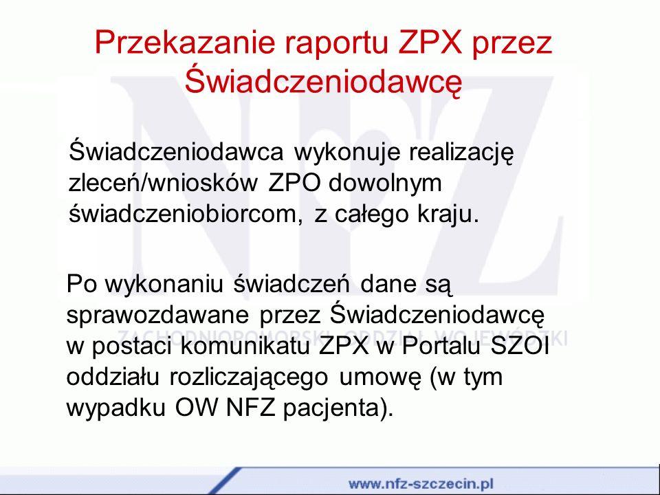 Przekazanie raportu ZPX przez Świadczeniodawcę Świadczeniodawca wykonuje realizację zleceń/wniosków ZPO dowolnym świadczeniobiorcom, z całego kraju. P