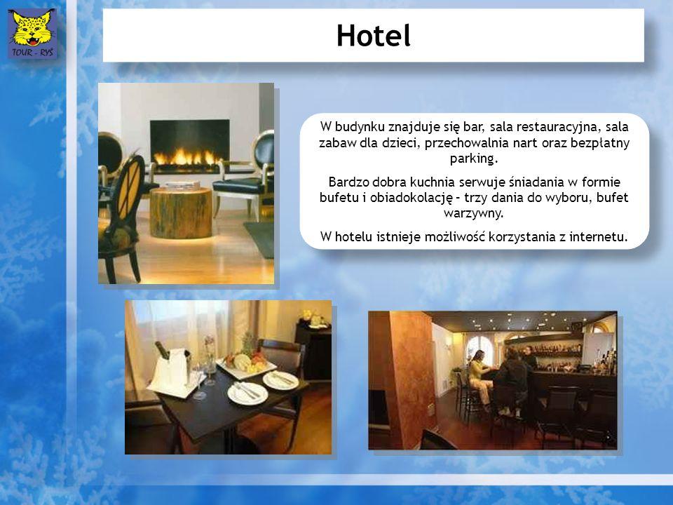Hotel W budynku znajduje się bar, sala restauracyjna, sala zabaw dla dzieci, przechowalnia nart oraz bezpłatny parking.