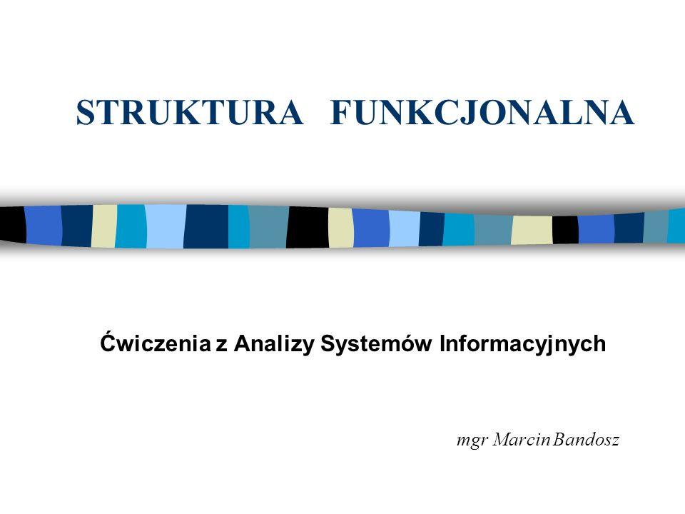 STRUKTURA FUNKCJONALNA Ćwiczenia z Analizy Systemów Informacyjnych mgr Marcin Bandosz