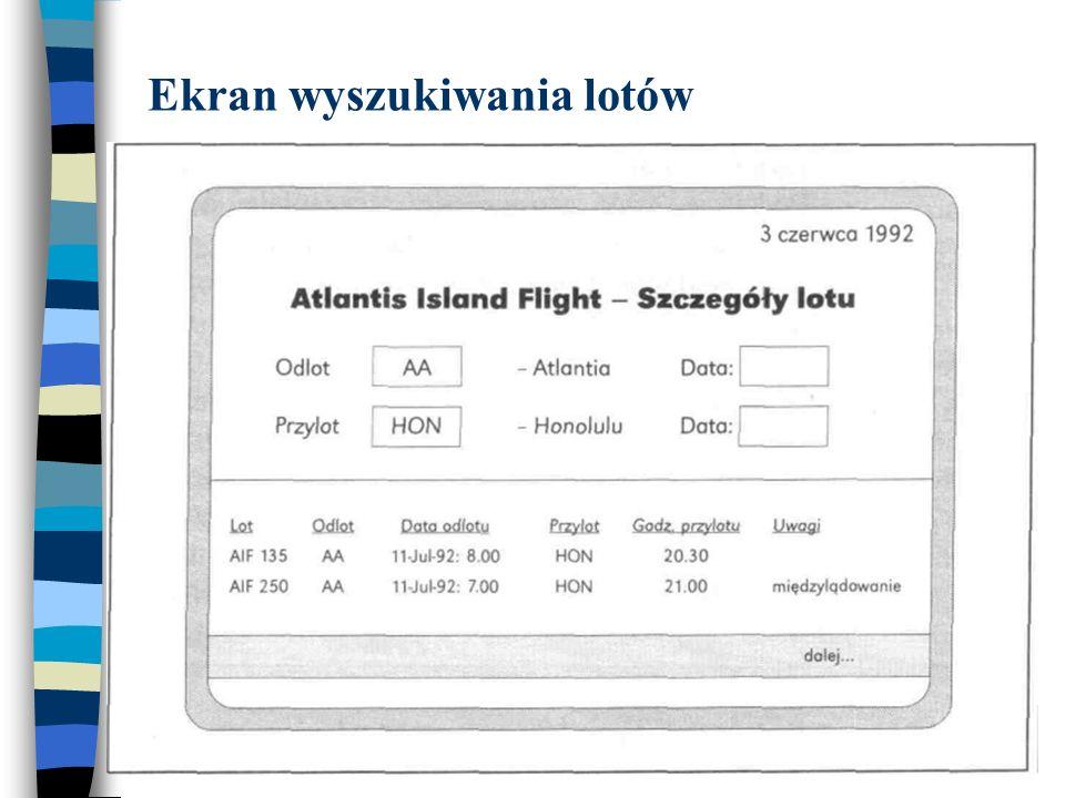 Ekran wyszukiwania lotów