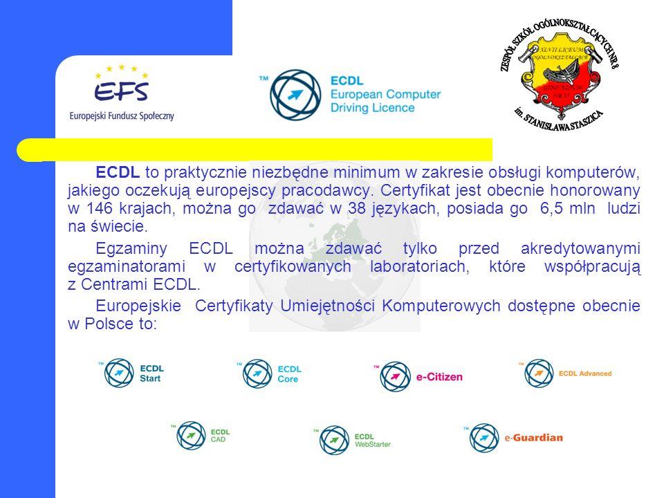 ECDL to praktycznie niezbędne minimum w zakresie obsługi komputerów, jakiego oczekują europejscy pracodawcy. Certyfikat jest obecnie honorowany w 146