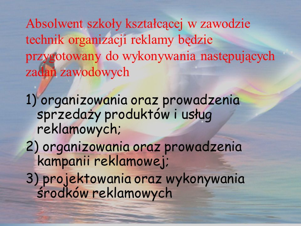 1) organizowania oraz prowadzenia sprzedaży produktów i usług reklamowych; 2) organizowania oraz prowadzenia kampanii reklamowej; 3) projektowania ora