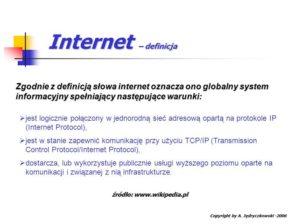 Internet – definicja Copyright by A. Jędryczkowski -2006 Zgodnie z definicją słowa internet oznacza ono globalny system informacyjny spełniający nastę