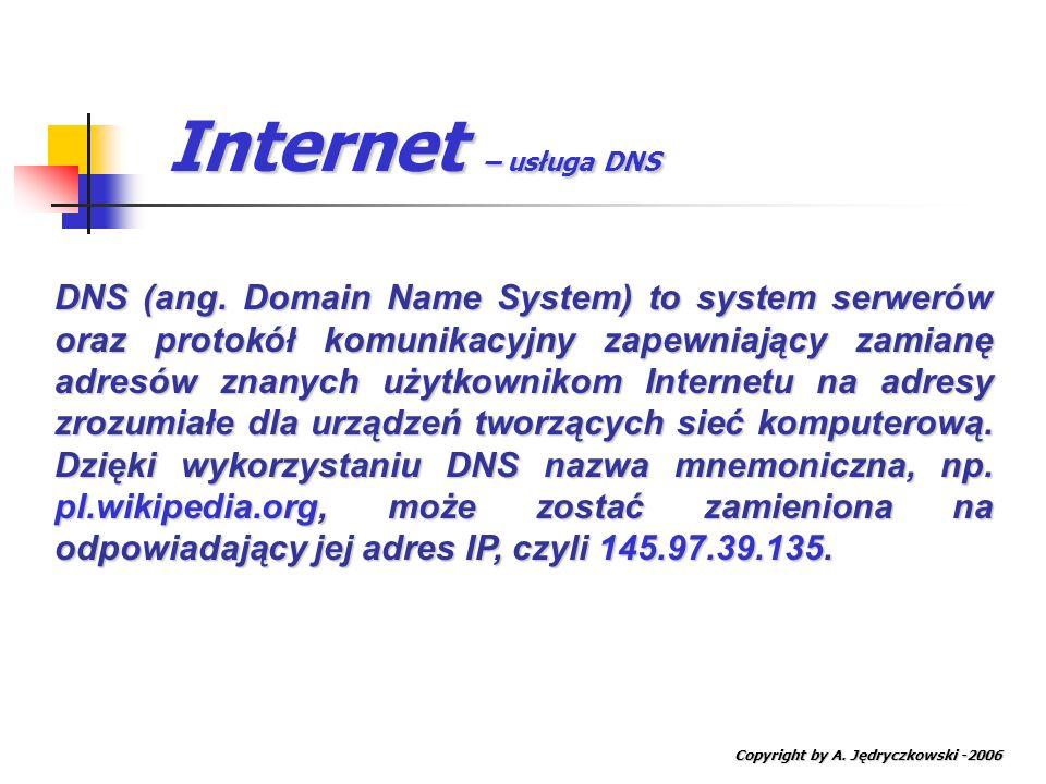 Internet – usługa DNS Copyright by A. Jędryczkowski -2006 DNS (ang. Domain Name System) to system serwerów oraz protokół komunikacyjny zapewniający za