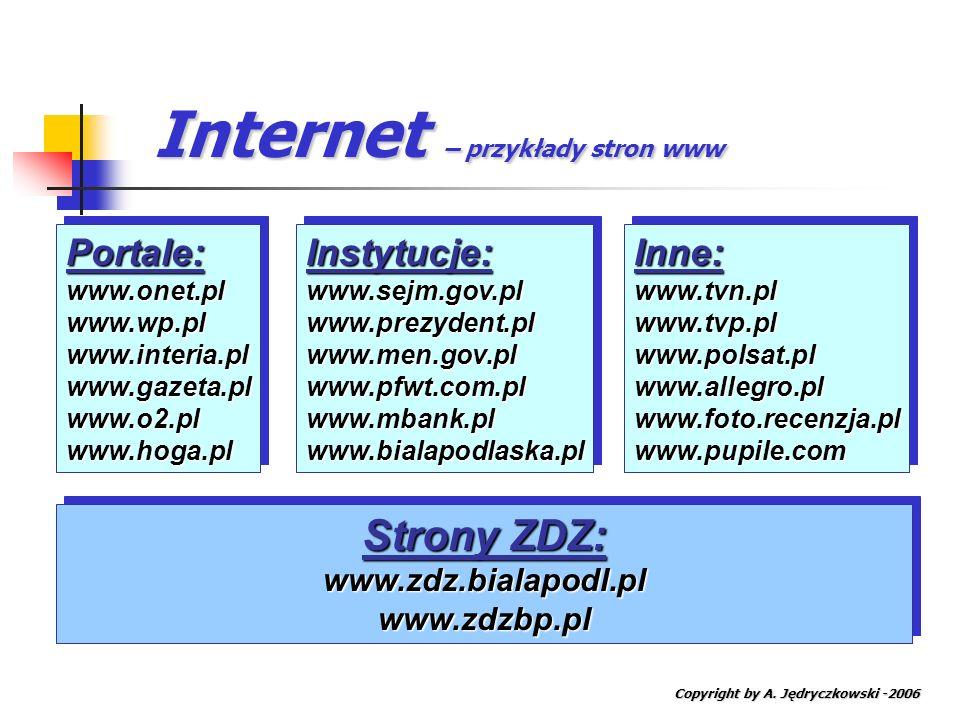 Internet – przykłady stron www Copyright by A. Jędryczkowski -2006 Portale:www.onet.plwww.wp.plwww.interia.plwww.gazeta.plwww.o2.plwww.hoga.plPortale: