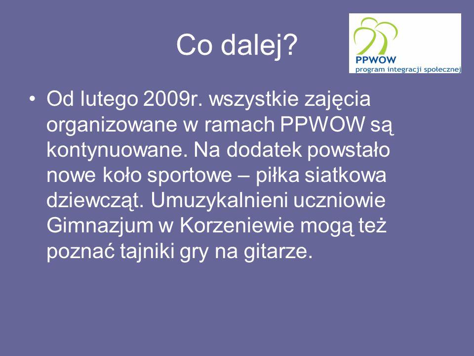 Co dalej. Od lutego 2009r. wszystkie zajęcia organizowane w ramach PPWOW są kontynuowane.