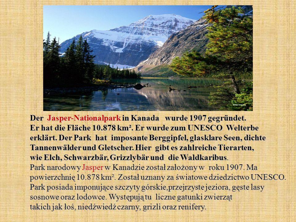 Der Jasper-Nationalpark in Kanada wurde 1907 gegründet. Er hat die Fläche 10.878 km². Er wurde zum UNESCO Welterbe erklärt. Der Park hat imposante Ber