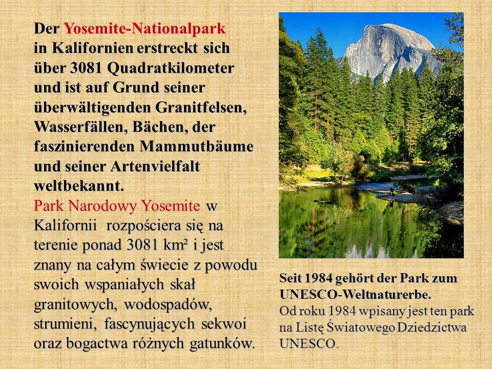 Der Yosemite-Nationalpark in Kalifornien erstreckt sich über 3081 Quadratkilometer und ist auf Grund seiner überwältigenden Granitfelsen, Wasserfällen