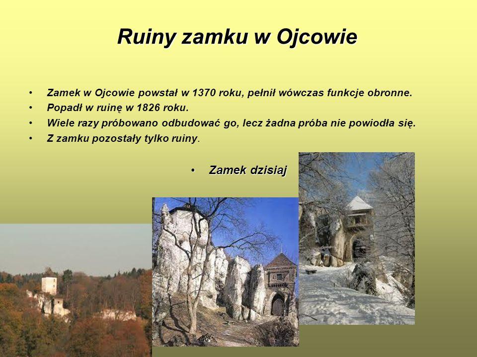 Ruiny zamku w Ojcowie Zamek w Ojcowie powstał w 1370 roku, pełnił wówczas funkcje obronne. Popadł w ruinę w 1826 roku. Wiele razy próbowano odbudować