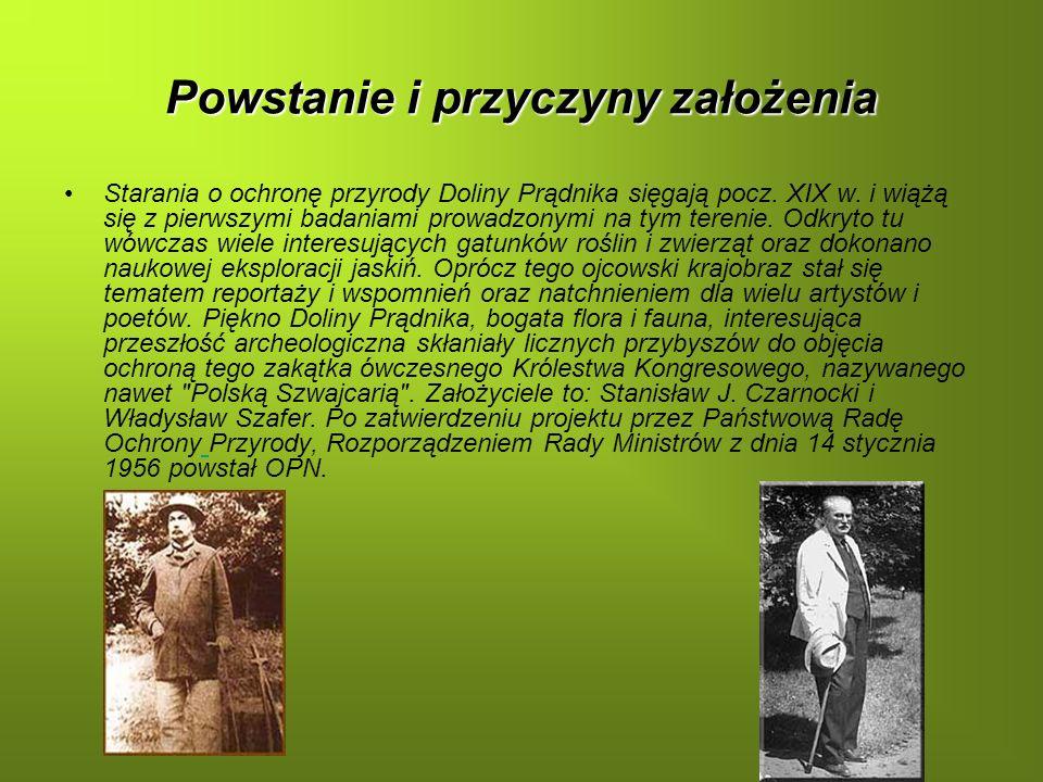 Powstanie i przyczyny założenia Starania o ochronę przyrody Doliny Prądnika sięgają pocz. XIX w. i wiążą się z pierwszymi badaniami prowadzonymi na ty