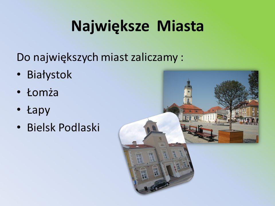 Największe Miasta Do największych miast zaliczamy : Białystok Łomża Łapy Bielsk Podlaski