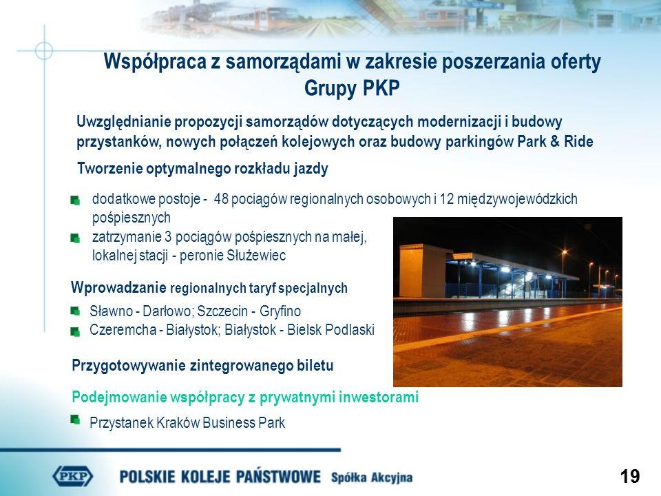 19 Współpraca z samorządami w zakresie poszerzania oferty Grupy PKP Uwzględnianie propozycji samorządów dotyczących modernizacji i budowy przystanków,