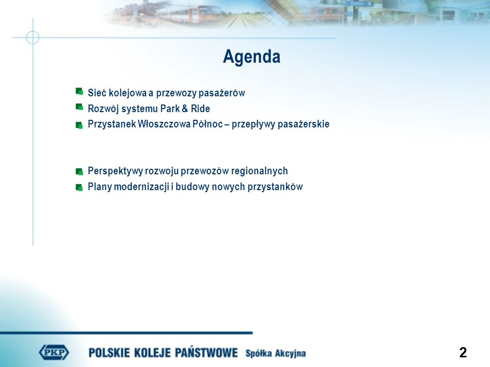 22 Sieć kolejowa a przewozy pasażerów Rozwój systemu Park & Ride Przystanek Włoszczowa Północ – przepływy pasażerskie Perspektywy rozwoju przewozów re