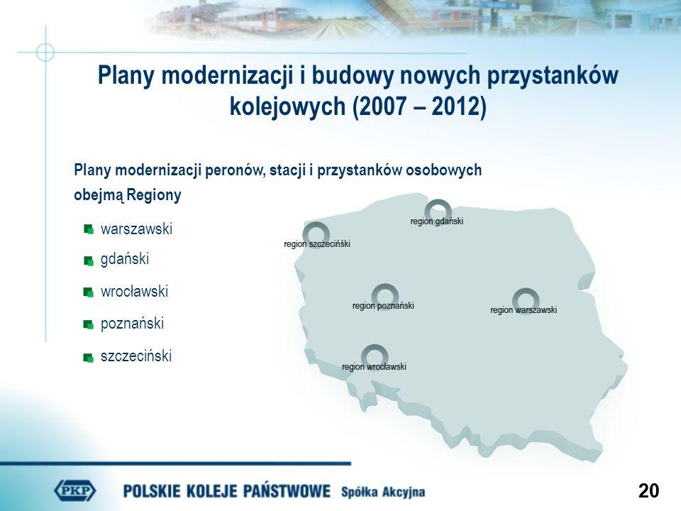 20 Plany modernizacji peronów, stacji i przystanków osobowych obejmą Regiony warszawski gdański wrocławski poznański szczeciński Plany modernizacji i