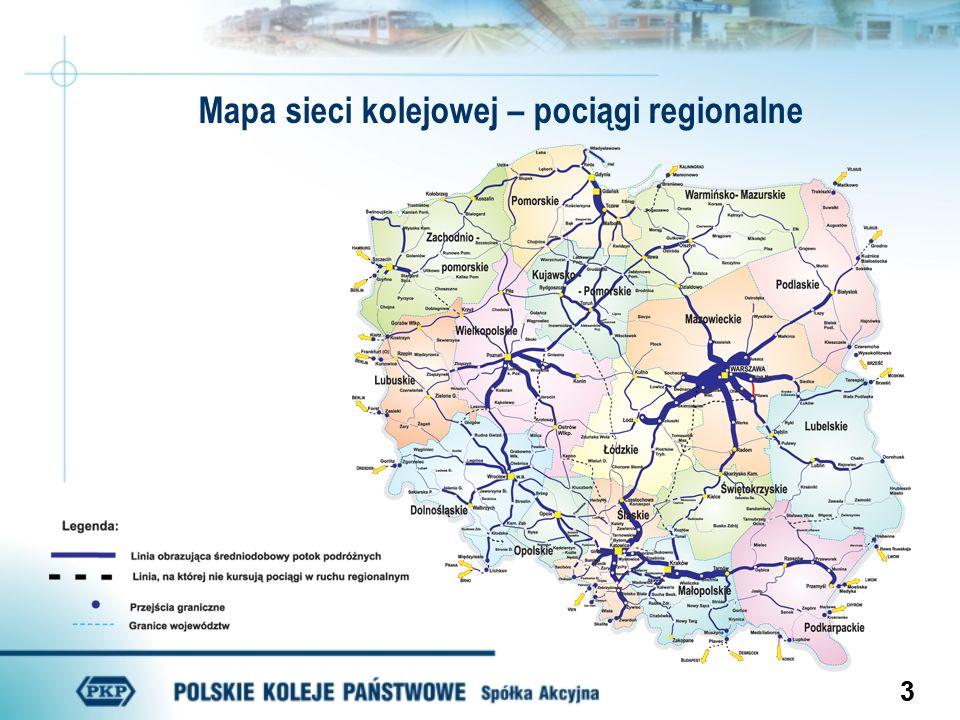 33 Mapa sieci kolejowej – pociągi regionalne