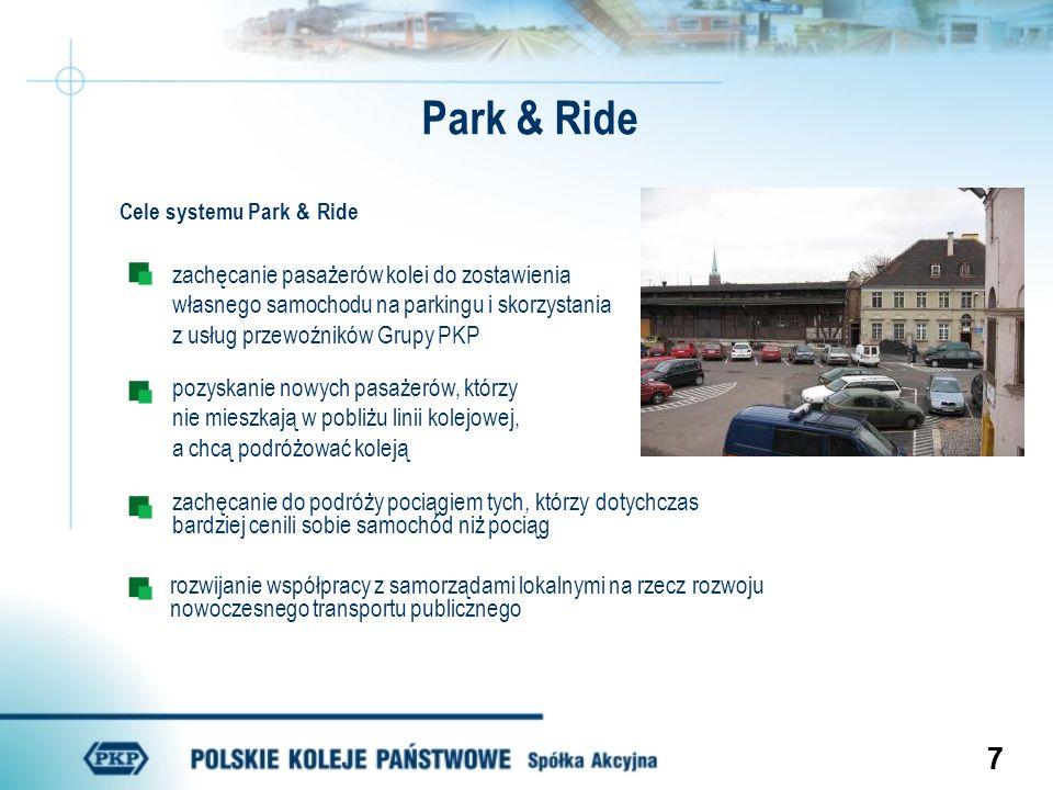 88 Park & Ride Cechy parkingów w systemie Park & Ride położone blisko dworca kolejowego ogrodzone, oświetlone większe parkingi dozorowane bądź strzeżone i objęte monitoringiem miejsca dla rowerów Zasady korzystania z parkingów Park & Ride bilet kolejowy z kartą wjazdową czas korzystania z parkingu na podstawie ważnego biletu wjazd na parking za pomocą karty lub biletu pierwszeństwo w korzystaniu z parkingu dla pasażerów kolei