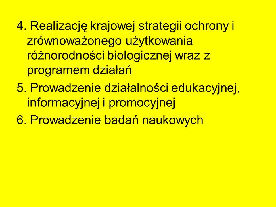 4. Realizację krajowej strategii ochrony i zrównoważonego użytkowania różnorodności biologicznej wraz z programem działań 5. Prowadzenie działalności
