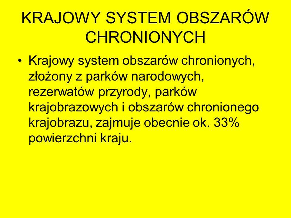 KRAJOWY SYSTEM OBSZARÓW CHRONIONYCH Podstawą teoretyczną projektu ochrony krajobrazu w Polsce stała się koncepcja Ekologicznego Systemu Obszarów Chronionych – ESOCh.