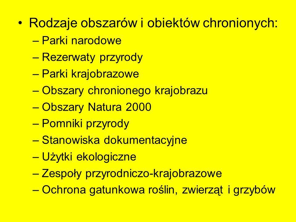 Rodzaje obszarów i obiektów chronionych: –Parki narodowe –Rezerwaty przyrody –Parki krajobrazowe –Obszary chronionego krajobrazu –Obszary Natura 2000