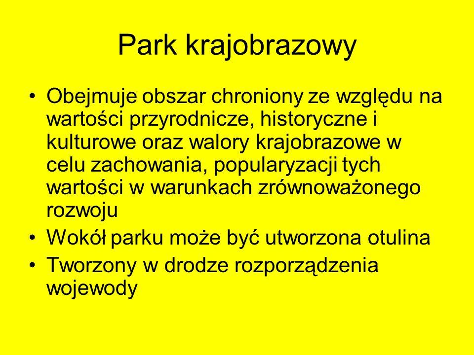 Park krajobrazowy Obejmuje obszar chroniony ze względu na wartości przyrodnicze, historyczne i kulturowe oraz walory krajobrazowe w celu zachowania, p