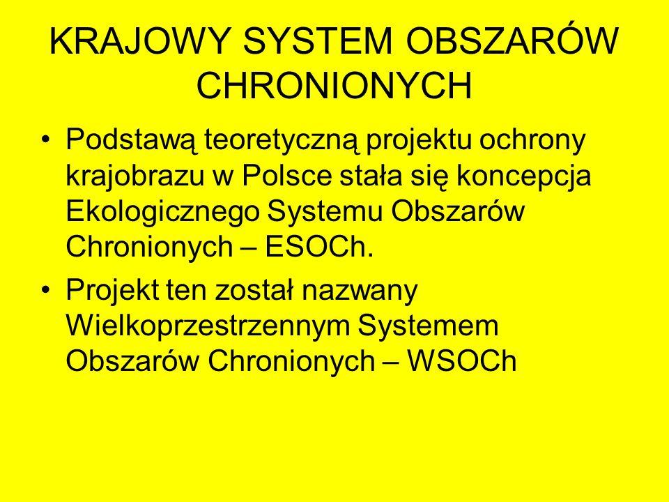 KRAJOWY SYSTEM OBSZARÓW CHRONIONYCH Podstawą teoretyczną projektu ochrony krajobrazu w Polsce stała się koncepcja Ekologicznego Systemu Obszarów Chron