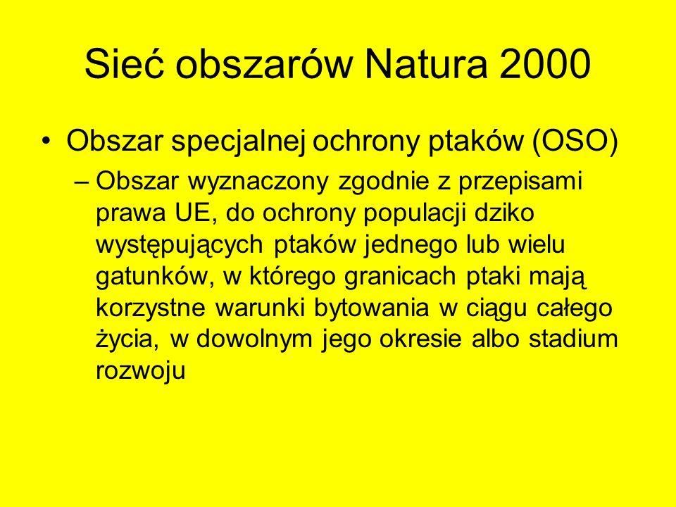 Sieć obszarów Natura 2000 Obszar specjalnej ochrony ptaków (OSO) –Obszar wyznaczony zgodnie z przepisami prawa UE, do ochrony populacji dziko występuj