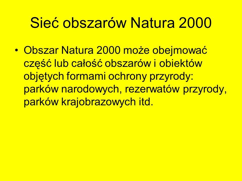 Sieć obszarów Natura 2000 Obszar Natura 2000 może obejmować część lub całość obszarów i obiektów objętych formami ochrony przyrody: parków narodowych,