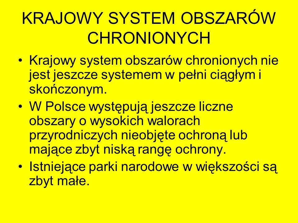 KRAJOWY SYSTEM OBSZARÓW CHRONIONYCH Krajowy system obszarów chronionych nie jest jeszcze systemem w pełni ciągłym i skończonym. W Polsce występują jes
