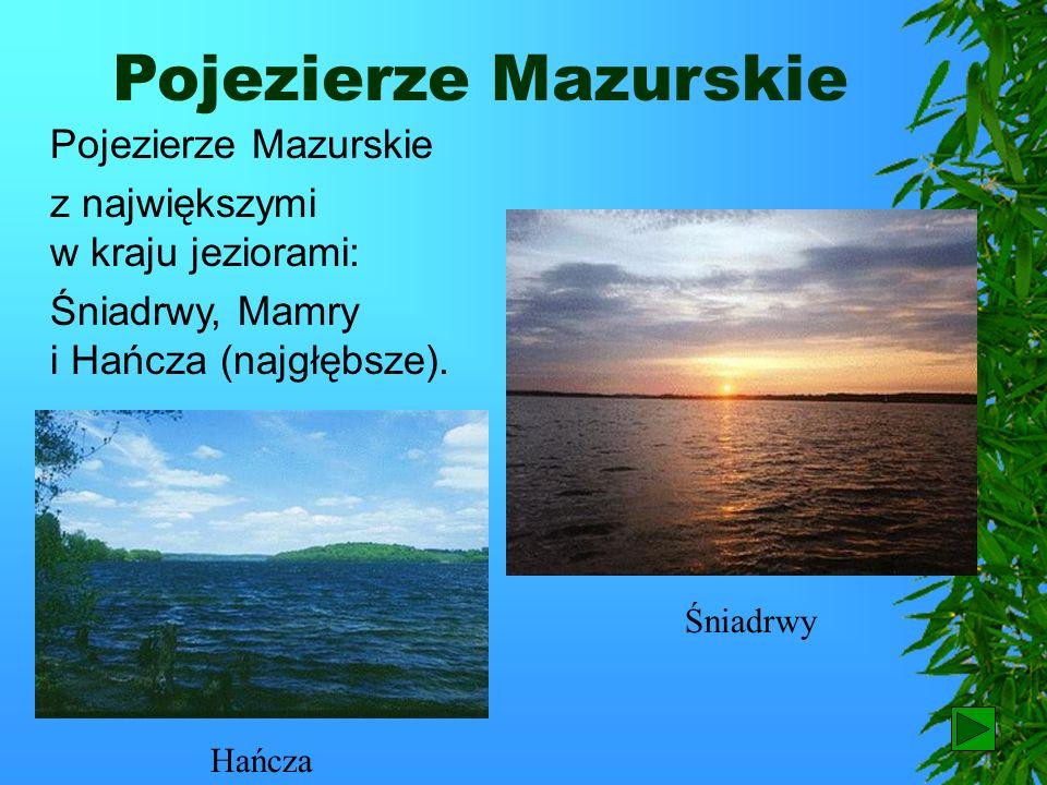 Pojezierza Bardzo urozmaicony krajobraz mają pojezierza. Najbardziej znane i odwiedzane przez turystów są: Pojezierze Mazurskie, Pojezierze Pomorskie.
