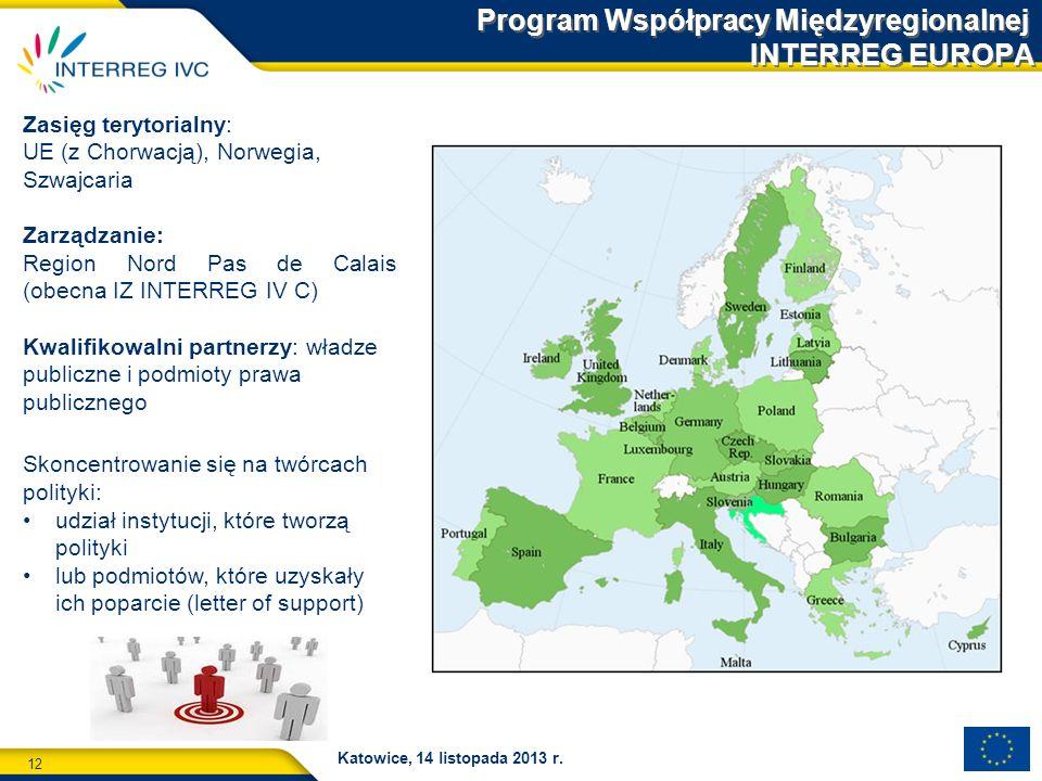 12 Katowice, 14 listopada 2013 r. Program Współpracy Międzyregionalnej INTERREG EUROPA Zasięg terytorialny: UE (z Chorwacją), Norwegia, Szwajcaria Zar