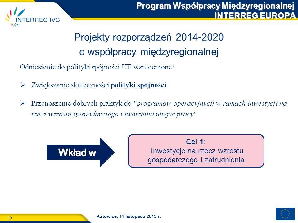 13 Katowice, 14 listopada 2013 r. Odniesienie do polityki spójności UE wzmocnione: Zwiększanie skuteczności polityki spójności Przenoszenie dobrych pr