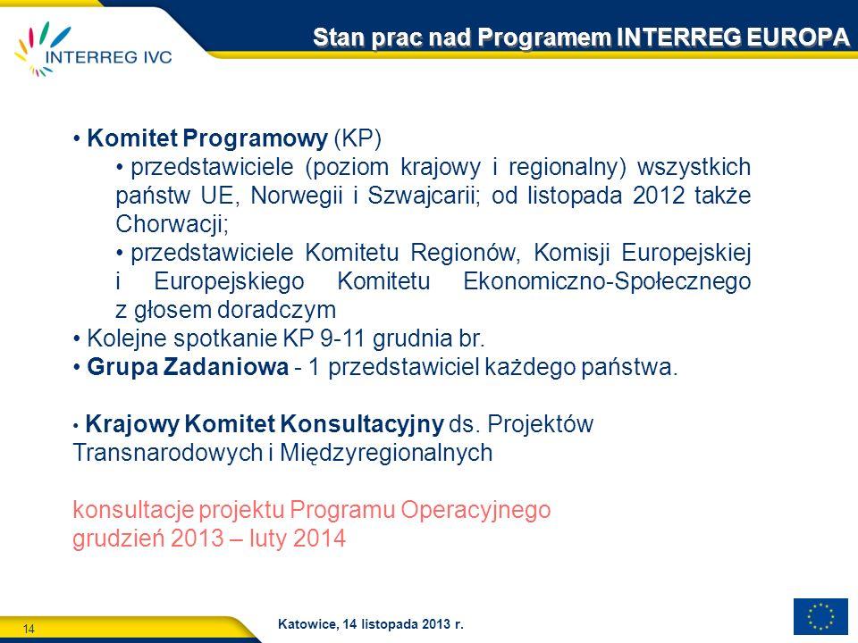 14 Katowice, 14 listopada 2013 r. Stan prac nad Programem INTERREG EUROPA Komitet Programowy (KP) przedstawiciele (poziom krajowy i regionalny) wszyst