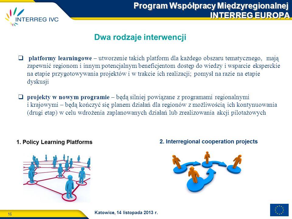 16 Katowice, 14 listopada 2013 r. Program Współpracy Międzyregionalnej INTERREG EUROPA platformy learningowe – utworzenie takich platform dla każdego