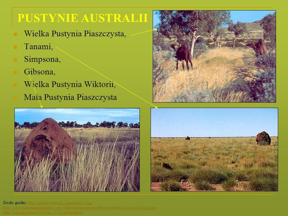 PUSTYNIE AUSTRALII Wielka Pustynia Piaszczysta, Tanami, Simpsona, Gibsona, Wielka Pustynia Wiktorii, Mała Pustynia Piaszczysta Źródło grafiki: http://
