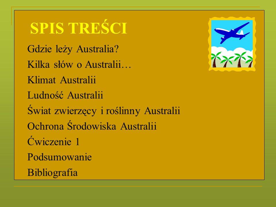 Gdzie leży Australia? Kilka słów o Australii… Klimat Australii Ludność Australii Świat zwierzęcy i roślinny Australii Ochrona Środowiska Australii Ćwi
