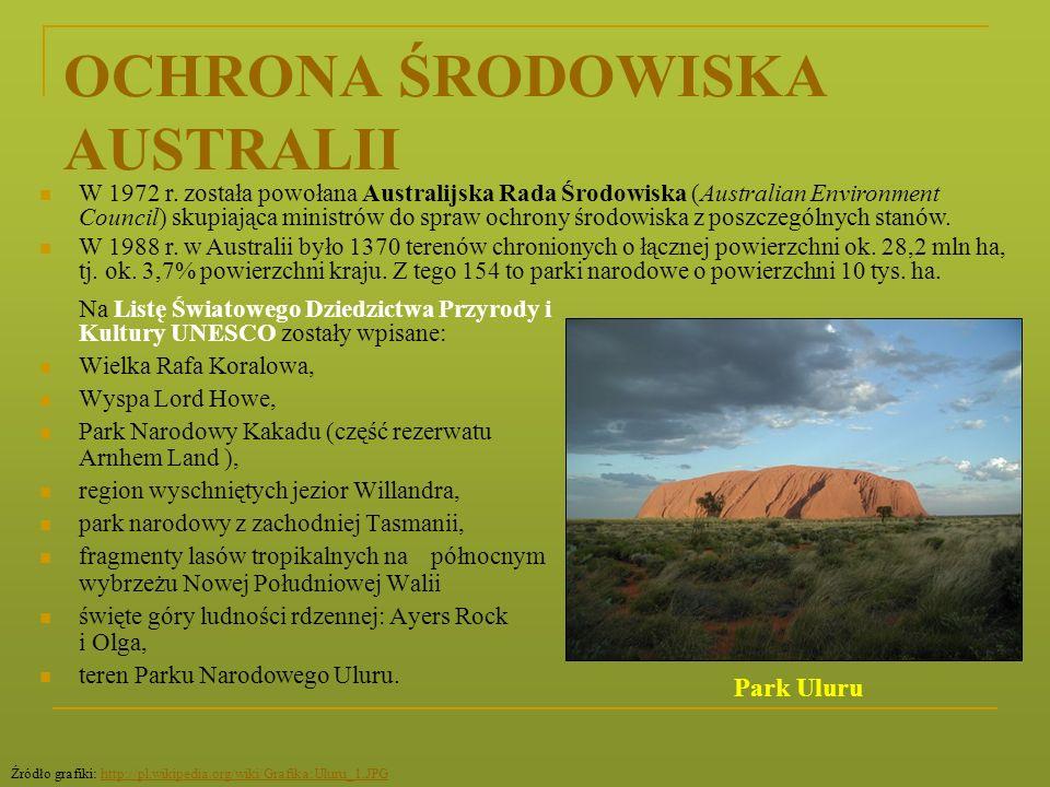 OCHRONA ŚRODOWISKA AUSTRALII Na Listę Światowego Dziedzictwa Przyrody i Kultury UNESCO zostały wpisane: Wielka Rafa Koralowa, Wyspa Lord Howe, Park Na