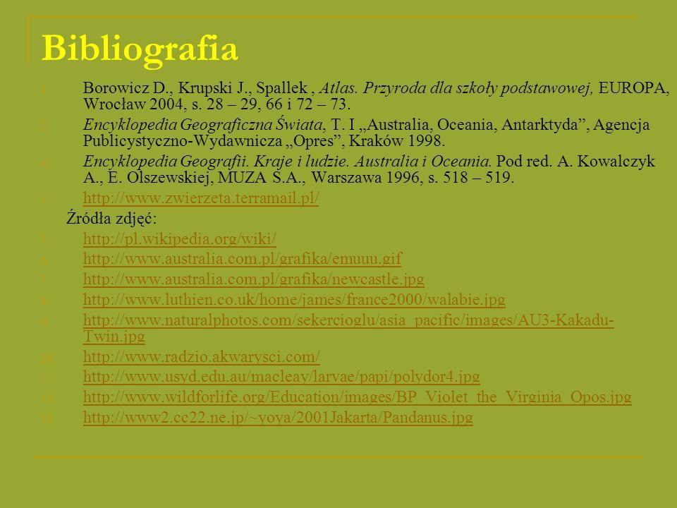 Bibliografia 1. Borowicz D., Krupski J., Spallek, Atlas. Przyroda dla szkoły podstawowej, EUROPA, Wrocław 2004, s. 28 – 29, 66 i 72 – 73. 2. Encyklope