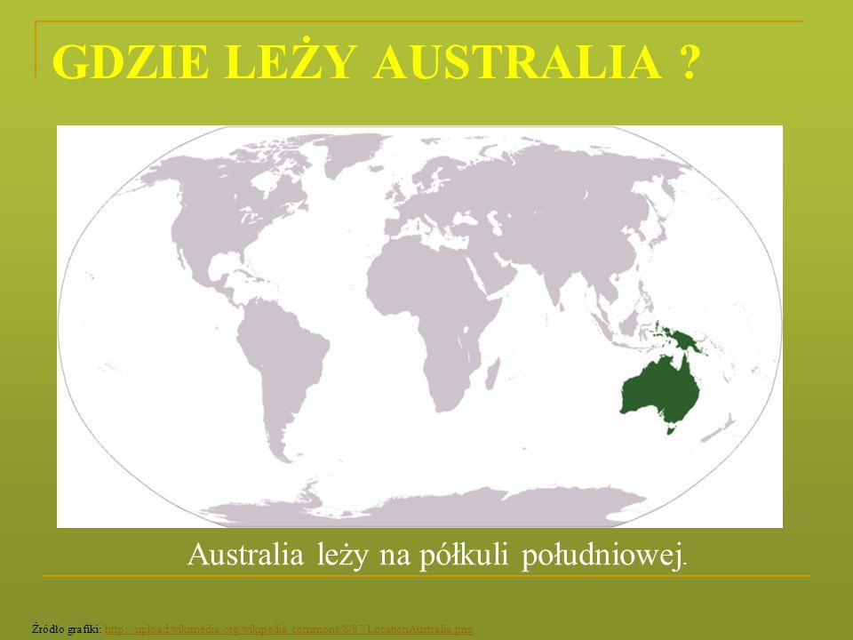 GDZIE LEŻY AUSTRALIA ? Australia leży na półkuli południowej. Źródło grafiki: http://upload.wikimedia.org/wikipedia/commons/8/87/LocationAustralia.png