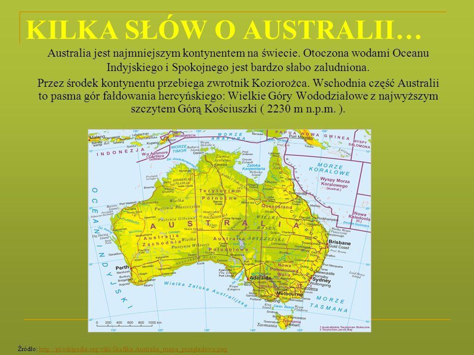 KILKA SŁÓW O AUSTRALII… Australia jest najmniejszym kontynentem na świecie. Otoczona wodami Oceanu Indyjskiego i Spokojnego jest bardzo słabo zaludnio