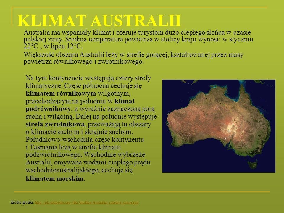 KLIMAT AUSTRALII Na tym kontynencie występują cztery strefy klimatyczne. Część północna cechuje się klimatem równikowym wilgotnym, przechodzącym na po