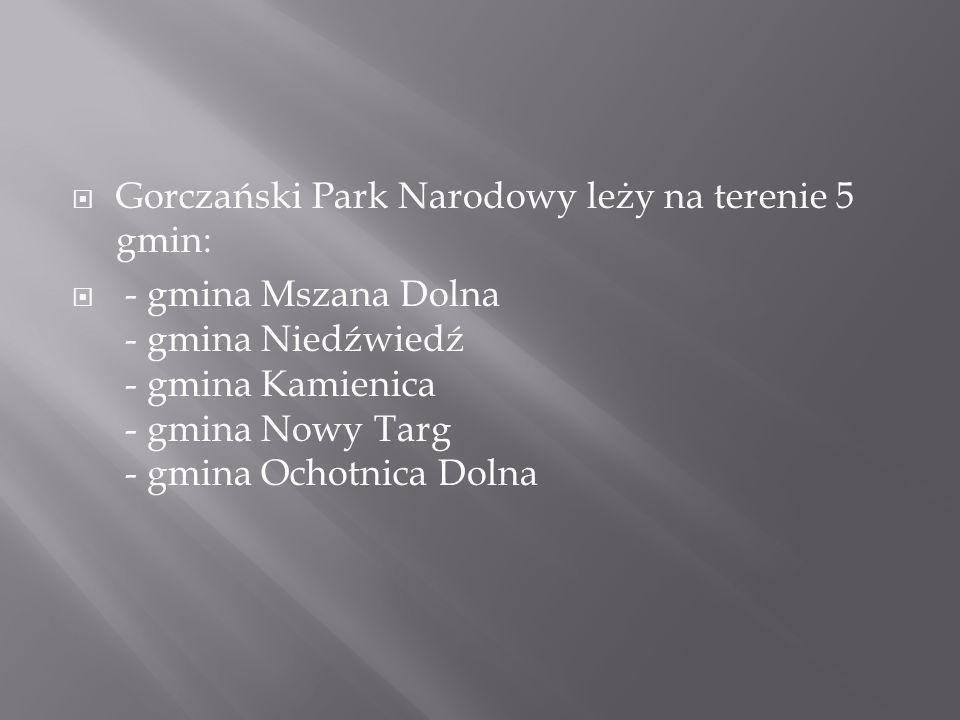 Gorczański Park Narodowy leży na terenie 5 gmin: - gmina Mszana Dolna - gmina Niedźwiedź - gmina Kamienica - gmina Nowy Targ - gmina Ochotnica Dolna