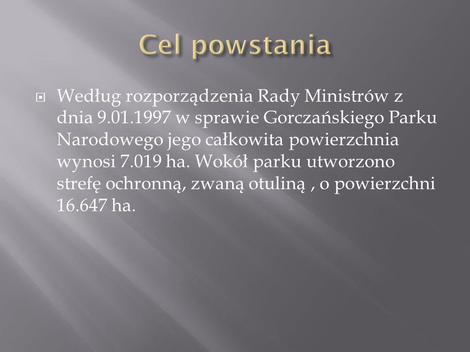 Według rozporządzenia Rady Ministrów z dnia 9.01.1997 w sprawie Gorczańskiego Parku Narodowego jego całkowita powierzchnia wynosi 7.019 ha. Wokół park